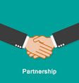 partnership handshake on a turquoise background vector image vector image