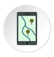 Phone with maps icon flat style vector image vector image
