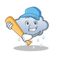 playing baseball rain cloud character cartoon