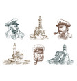 portrait of a sea captain marine old sailor and vector image vector image