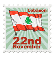 post stamp of national day of Lebanon vector image vector image