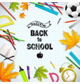 realistic school time poster vector image vector image