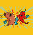 red pepper beats a sausage the victory of vector image vector image