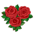 Red roses with leaves isolated on white background vector image
