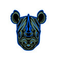 rhino head mascot logo design vector image vector image