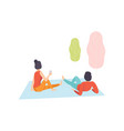 romantic couple enjoying picnic young man and vector image vector image