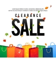 Sale Poster with paper shopping bags and lights vector image