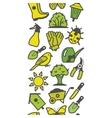 Seamless pattern of green garden tools vector image vector image