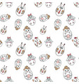 Seamless pattern with cute animals in a shape of