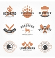 Set hand drawn style retro logos vector image