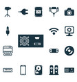 set of 16 computer hardware icons includes camera vector image vector image