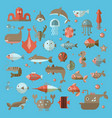 set of flat sealife elements plants and vector image