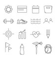 set simple line style icons for fitness vector image