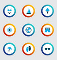sun icons colored set with parasol smelting vector image