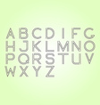 Thin line font Latin alphabet on green background vector image