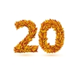Twenty 20 number of autumn fall bright orange vector image