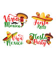 viva mexico icons set with mexican chilli mariachi vector image