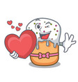 with heart easter cake mascot cartoon vector image vector image