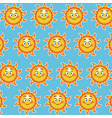 happy funny sun smile wallpaper pattern cartoon vector image