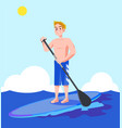a man enjoying water sports in the blue sea vector image vector image