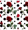 a pattern with red roses with green leaves and a vector image vector image