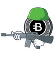 army bytecoin coin character cartoon vector image vector image