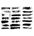black ink grunge brush set strokes on white vector image vector image