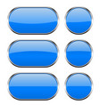blue glass buttons with chrome frame 3d icons vector image vector image