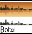 Bolton skyline in orange background vector image vector image