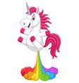 cartoon funny unicorn horse with rainbows fart vector image vector image