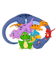 Collection mom and baby dinosaur vector image vector image