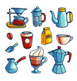 collection of coffee makers and items vector image vector image