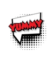 Comic text yummy sound effects pop art vector image vector image