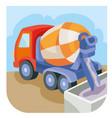 concrete mixer pours concrete that has vector image vector image