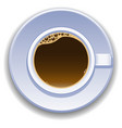 cup of coffee view from the top vector image vector image
