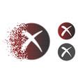 decomposed pixelated halftone delete icon vector image vector image