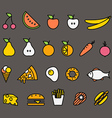 Different food silhouette icons collection Design vector image vector image