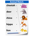 english animal matching worksheet vector image