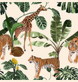 exotic animal tiger and giraffe in jungle vector image vector image