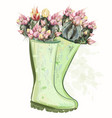 fashion spring with green rubber boots cactus vector image