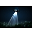Flying UFO over night forest vector image vector image