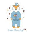 fox in pajamas vector image vector image
