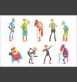 funny elderly superman cartoon characters in vector image vector image
