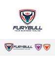 fury bull logo design vector image