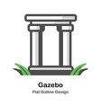 gazebo outline flat vector image