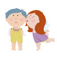 girl is kissing a boy cute little angels vector image