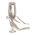 glass of champagne in human hand monochrome sketch vector image vector image