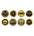 golden winner badges retro gold quality stamp vector image