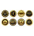 Golden winner badges retro gold quality stamp
