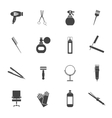 Hairdresser icon set black vector image
